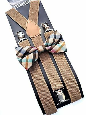 New Tan Khaki Suspender and Pastel BOW TIE SET Tuxedo Wedding Suit