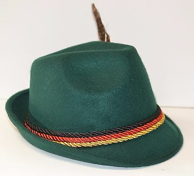 Oktoberfest Bavarian style souvenir green hat with tri-colored bands Polyester
