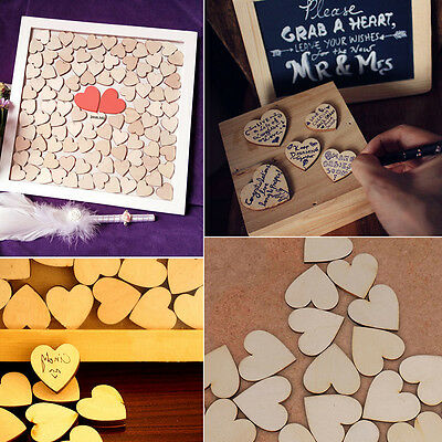 200PCS Rustic Wooden Love Heart Wedding Table Scatter Decoration Crafts DIY