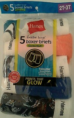 Toddler Boys Nwt 5 Pack Tagless Comfortsoft Boxer Briefs Size 2T-3T 100% Cotton