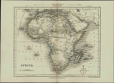 Africa showing huge Mts. of Moon Kong Gold c.1850 Collins uncommon antique map