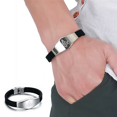 Stainless Steel Silicone Masonic Charm Bangle Bracelet Wristband For Men CT