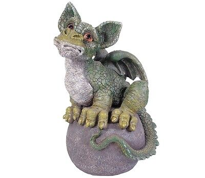 New Indoor/Outdoor Durable Resin-Stone Unique Magic on Ball Green Dragon Statue