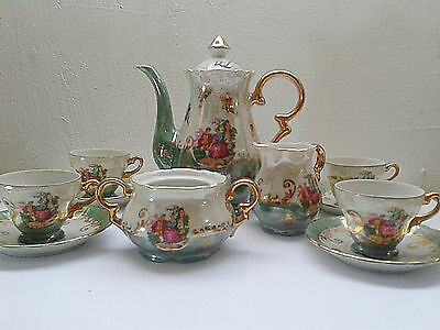 Vintage Tea Cups Porcelain Iridescent Set 11 Pieces White Green Gold