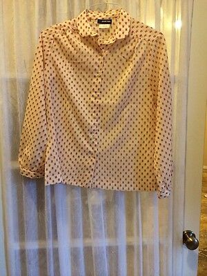 Vintage 1970's Blouse Long Sleeve Button Up Polyester Sz 11/12