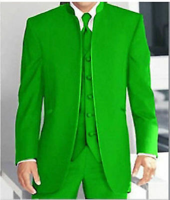 Custom 3 Piece Green Mandarin Collar Suits Men's Formal Wedding Party Tuxedos
