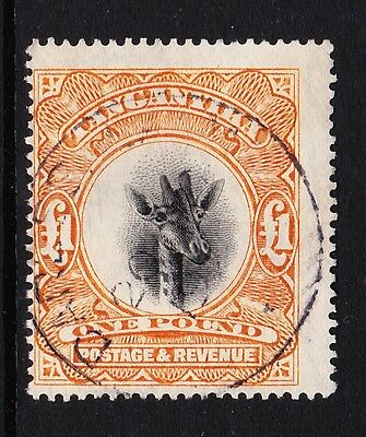 TANGANYIKA 1922-24 £1 YELLOW-ORANGE WMK UPRIGHT SG 88a FINE USED.