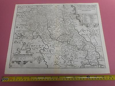 100% Original Northamptonshire  Map By Saxton Kip  C1637 Vgc Scarce