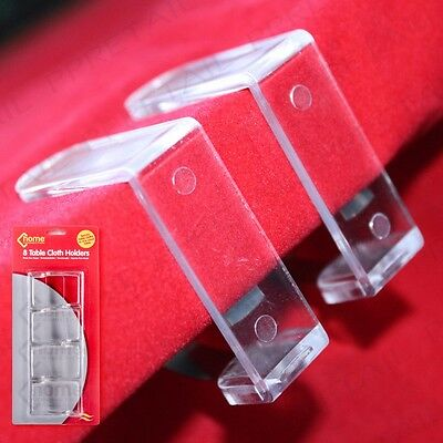 8Pc Clear Table Cloth Desk Cover Holder Skirt Clips Durable Plastic Clip Grips