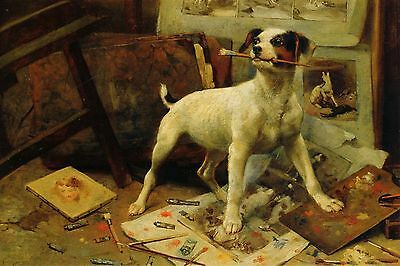 Jack Russell Terrier Puppy Dog by Alfred Wm Strutt - LARGE New Blank Note Cards