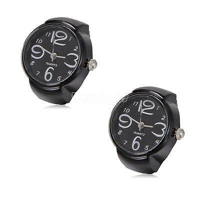 Creative Unisex Finger Ring Watch Analog Quartz Pocket Black Round Watches Gift