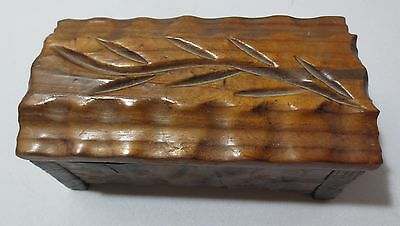 Vintage Hand Carved Wooden Jewelry or Trinket Box Signed