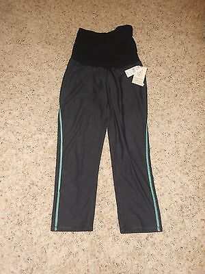 New Oh Baby Maternity Athletic Capri Size Small Black Active Full Panel