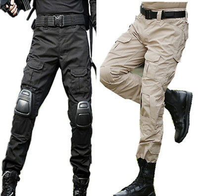 Military Paintball BDU Tactical Camo Trousers Airsoft Pants w Knee Pads BK Khaki