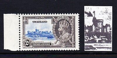 SWAZILAND 1935 1½d SILVER JUBILEE 'SHORT EXTRA FLAGSTAFF' VARIETY SG 22b MNH.