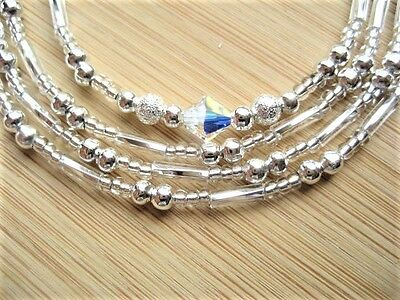 Spectacle Chain for Reading Glasses, Crystals & Silver Mixed Beads. UK Handmade