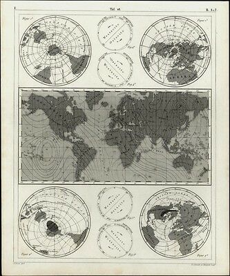 World globes diagrams science weather 1850s Heck Schmidt Madel engraved map