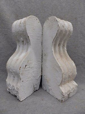 Antique Small Pair Wood Corbels Shabby Cottage Chic Gingerbread Vintage 309-17R