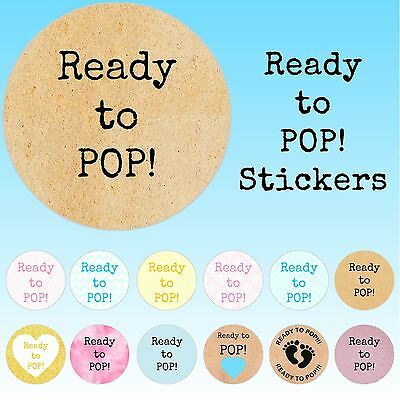 24 Personalised Ready to Pop Vintage Craft Patterns Baby Shower Stickers Seals