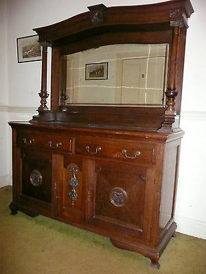 Antique Victorian Sideboard Buffer Solid Oak Carved Mirror Back Backed Large