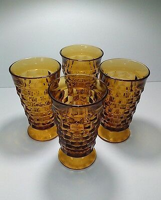 Vintage Indiana Glass Whitehall Amber Footed Goblets, Set of 4