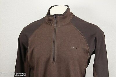 PATAGONIA Midweight Capilene Zipneck Long Sleeve Shirt -Brown -Fits Large/XL