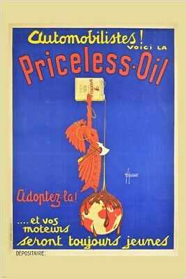 vintage french ad poster AUTOMOBILISTES - PRICELESS OIL rare hot new 24X36