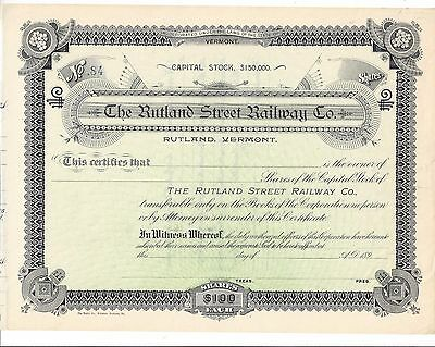 The Rutland Street Railway Co (Vermont)......1890's Unissued Stock Certificate