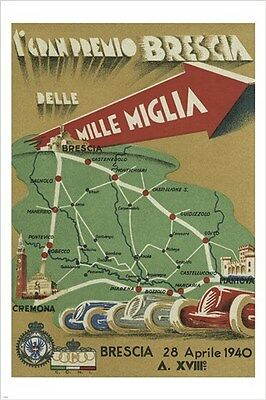 vintage ITALIAN RACE CAR MAP ad poster 1940 COLLECTORS new hot 24X36 RARE