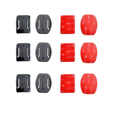 6PCS Helmet Accessories Flat Curved Adhesive Mount For Gopro Hero 1/2/3/3+/4
