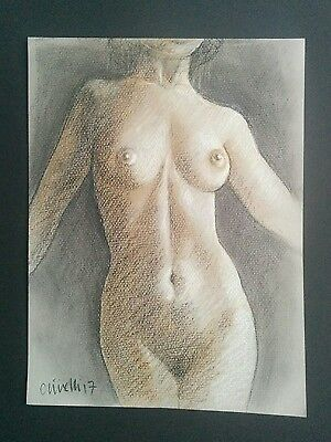 Original Pastel Nude Life Drawing Art Study