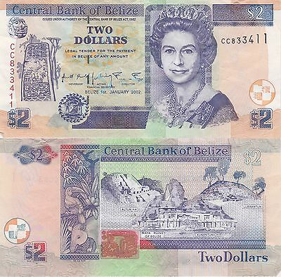 Belize 2 Dollars Banknote 1.1.2002 Very Fine Condition Cat#60-B-3411