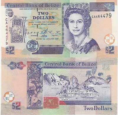 Belize 2 Dollars Banknote 1999 About Uncirculated Condition Cat#60-A-4479
