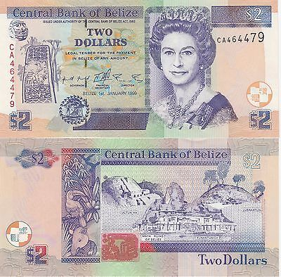 Belize 2 Dollars Banknote 1999 About Uncirculated Condition Cat#60-A-0944