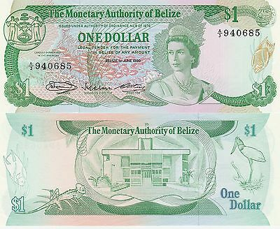 Belize 1 Dollar Banknote 1.6.1980 Uncirculated Condition Cat#38-A-0685