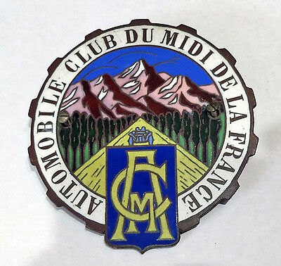 Vintage Enamaled Car Badge AUTOMOBILE CLUB DU MIDI DE FRANCE