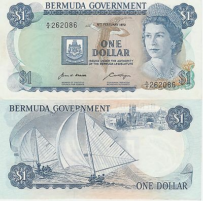 Bermuda,1 Dollar Banknote,6.2.1970 About Uncirculated Condition Cat#23-A-2086