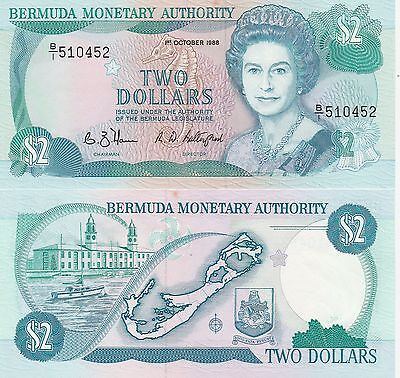 Bermuda,2 Dollars Banknote,1.10.1988 About Uncirculated Condition Cat#34-A-0452