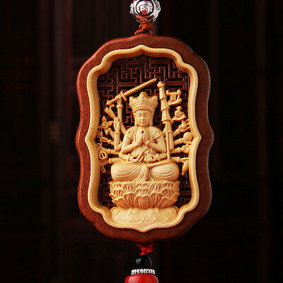 Hollow Out inlay Wood Carving Chinese Thousands Hands Guan Kwan Yin Car Pendant