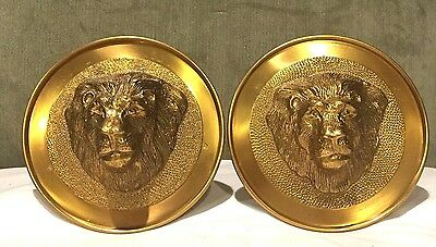 2~VINTAGE LARGE BRASS LION HEAD Curtain~PAIR~Tieback Towel Hook Holder~Heavy~W@W