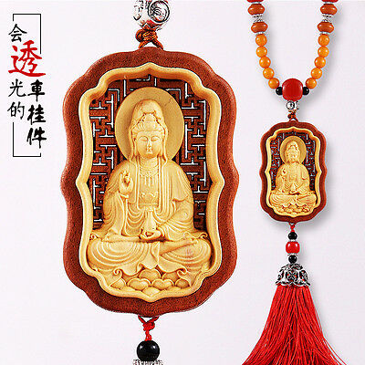 Hollow Out inlay Wood Carving Chinese Guan Kwan Yin Sculpture Amulet Car Pendant