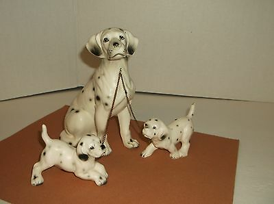 Vintage Dalmation Mom & Pups Figurines~Dog, 2 Leash Puppies~Porcelain Dog Family