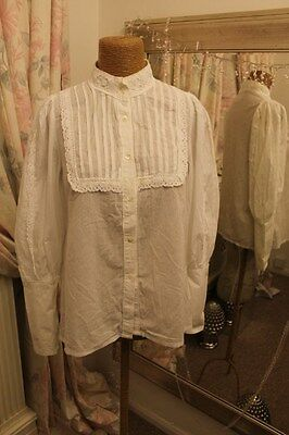 Laura Ashley white victoriana cotton blouse  - Size 14 16 - Ditsy Vintage 1970s