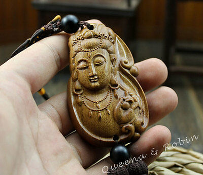 Chinese Rose Wood Carving Quan Kwan Yin Head Buddha Statue Car Pendant Amulet
