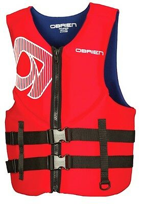 2017 O'Brien Traditional Biolite Watersports Vest, Medium Red 56406