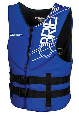 O'Brien Traditional Neoprene Hinge Watersports Buoyancy Impact Vest, Blue. 56406