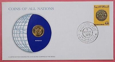 Coins Of All Nations Cover 1979 With Genuine Morocco Coin & Cancel
