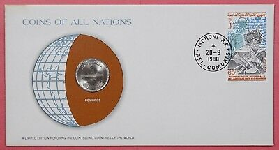 Coins Of All Nations Cover 1980 With Genuine Comoros Island Coin & Cancel
