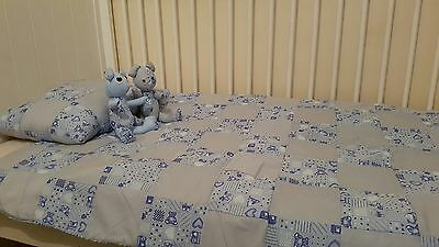 Handmade patchwork quilt with matching pillow + 2 rag doll bear (brother's)