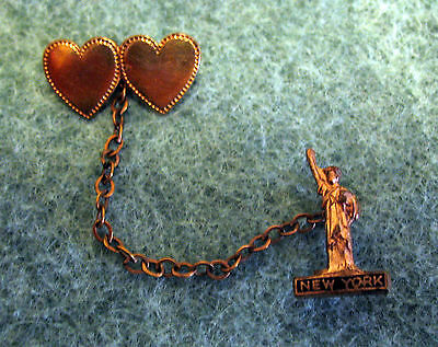 Vintage New York City Souvenir Statue of Liberty Pin + Hearts Attached by Chain